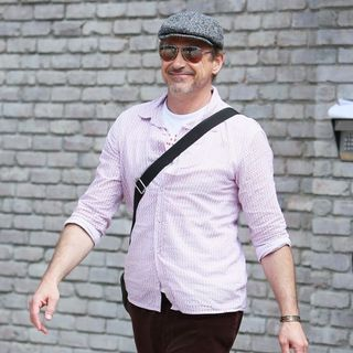 Robert Downey Jr. Arrives at Joel Silver's Memorial Day Party