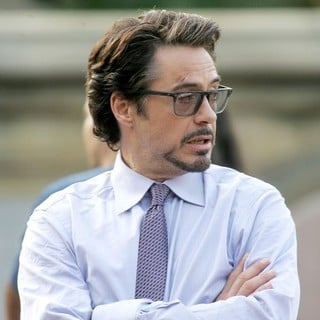 Robert Downey Jr. in Actors on The Set of The Avengers Shooting on Location in Manhattan