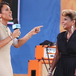 Robin Roberts (II), Mary J. Blige in Robin Roberts with Mary J. Blige at Good Morning America's Summer Concert Series