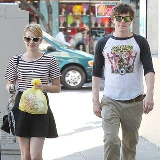 Emma Roberts, Evan Peters in Emma Roberts and Evan Peters Seen Outside A Halloween Store