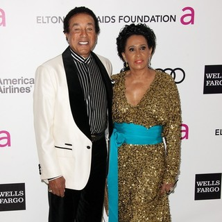 Smokey Robinson, Frances Gladney in The 20th Annual Elton John AIDS Foundation's Oscar Viewing Party - Arrivals