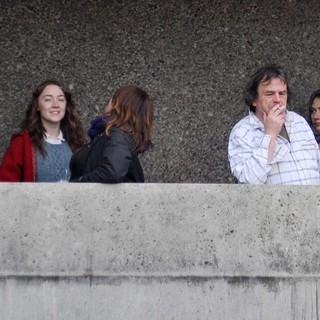 Saoirse Ronan, Neil Jordan in Gemma Arterton and Saoirse Ronan During A Break from Filming Byzantium