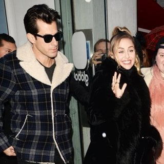 Mark Ronson, Miley Cyrus in Miley Cyrus and Mark Ronson at Capital Radio
