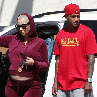 Amber Rose on Their Way to Lunch at Vivian's Millennium Cafe