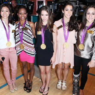 Kyla Ross, Gabrielle Douglas, McKayla Maroney, Aly Raisman, Jordyn Wieber in The 2012 U.S. Women's Gymnastics Olympic Gold Medal Team Ting The Closing Bell