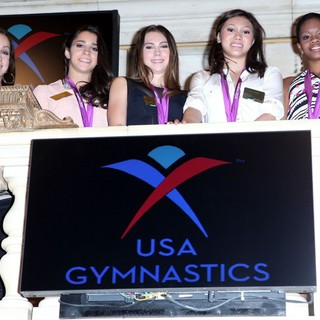 Jordyn Wieber, Aly Raisman, McKayla Maroney, Kyla Ross, Gabrielle Douglas in The 2012 U.S. Women's Gymnastics Olympic Gold Medal Team Ting The Closing Bell