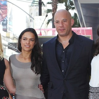 Katee Sackhoff, Michelle Rodriguez, Vin Diesel, Jordana Brewster in Vin Diesel Honored on The Hollywood Walk of Fame