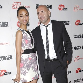 Zoe Saldana, Gary Safady in Machine Gun Preacher Los Angeles Premiere