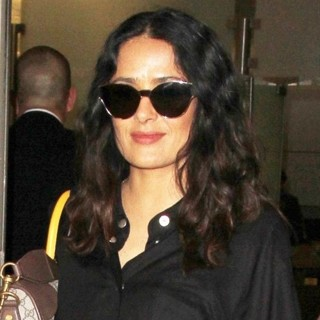 Salma Hayek-Salma Hayek Arrives at Los Angeles International Airport