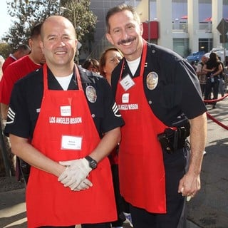 Steve Sambar, Marco Lozano in The Los Angeles Mission's Thanksgiving for Skid Row Homeless