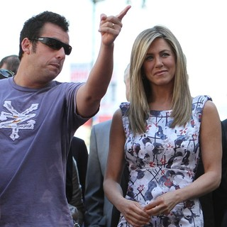 Adam Sandler, Jennifer Aniston in Jennifer Aniston Is Honored with A Star on The Hollywood Walk of Fame