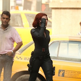 Scarlett Johansson in On The Film Set of The Avengers