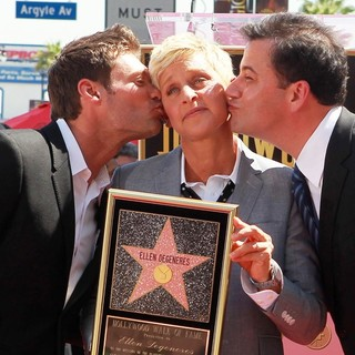 Ryan Seacrest, Ellen DeGeneres, Jimmy Kimmel in Ellen DeGeneres Is Honored with A Star on The Hollywood Walk of Fame
