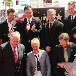 Ryan Seacrest, Tom LaBonge, Jimmy Kimmel, Ellen DeGeneres, Leron Gubler in Ellen DeGeneres Is Honored with A Star on The Hollywood Walk of Fame