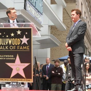 Ryan Seacrest, Simon Fuller in Simon Fuller Receives A Star on The Hollywood Walk of Fame