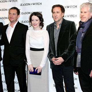 Robert Sheehan, Stephen Campbell Moore, Claire Foy, Nicolas Cage, Ron Perlman in The 'Season of the Witch' Premiere