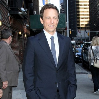 Seth Meyers in Celebrities Arrive at The Ed Sullivan Theater for The Late Show with David Letterman