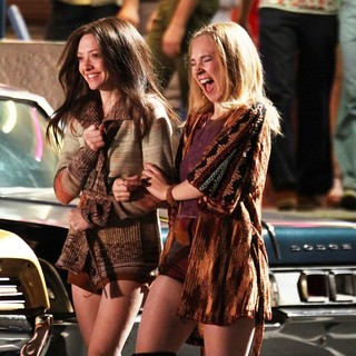 Amanda Seyfried, Juno Temple in The Set of Lovelace