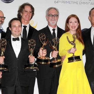 Steven Shareshian, Danny Strong, Jay Roach, Gary Goetzman, Julianne Moore, Tom Hanks in 64th Annual Primetime Emmy Awards - Press Room