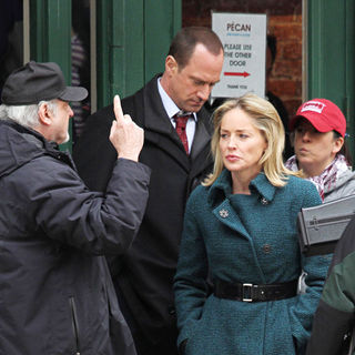 Christopher Meloni, Sharon Stone in On the set of 'Law & Order: Special Victims Unit' filming
