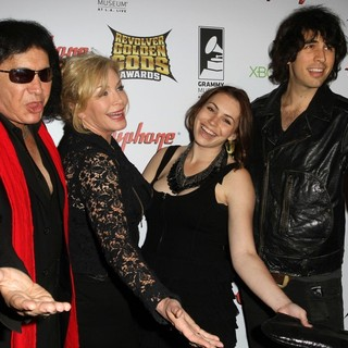 Gene Simmons, Shannon Tweed, Sophie Simmons, Nick Simmons in 2012 Revolver Golden Gods Awards Show