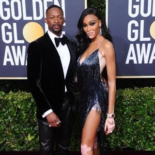 LaQuan Smith, Winnie Harlow in 77th Annual Golden Globes - Arrivals
