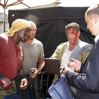 Wesley Snipes, Jason Statham, Sylvester Stallone, Ivan Portnih in The Expendables 3 Film Set