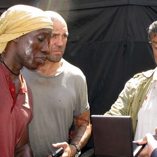 Wesley Snipes, Jason Statham, Sylvester Stallone in The Expendables 3 Film Set