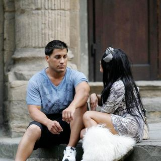 Snooki, Jionni LaValle in Snooki and Jionni LaValle Filming for Jersey Shore