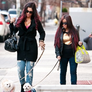JWoww, Snooki in Snooki Was Snapped Sporting A Large Diamond Blinger While Walking Her Dog to Daycare