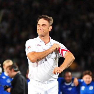 Robbie Williams in 2010 Unicef Soccer Aid Charity Football Match
