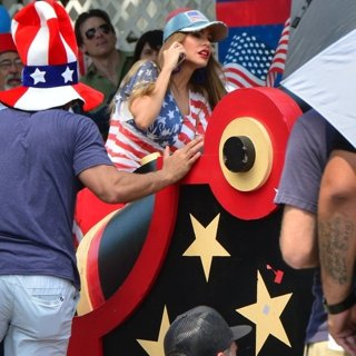 Sofia Vergara in Filming A Scene at An American Parade for Modern Family