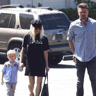 Axl Duhamel, Stacy Ferguson, Josh Duhamel-Stacy Ferguson and Josh Duhamel Take Their Son to Church