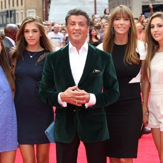 Scarlet Rose Stallone, Sophia Rose Stallone, Sylvester Stallone, Jennifer Flavin, Sistine Stallone in The Expendables 3 - UK Film Premiere - Arrivals