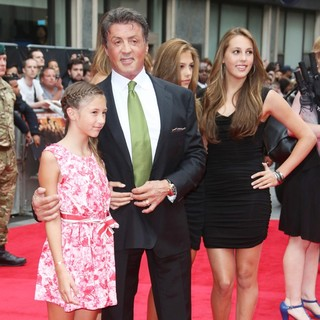 Scarlet Rose Stallone, Sylvester Stallone, Sistine Stallone, Sophia Rose Stallone in The Expendables 2 UK Premiere - Arrivals