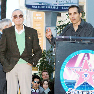 Stan Lee, Todd McFarlane in Stan Lee Hollywood Walk Of Fame Star Induction Ceremony