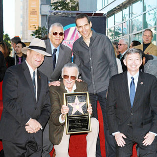 Gill Champion, Stan Lee, Todd McFarlane in Stan Lee Hollywood Walk Of Fame Star Induction Ceremony