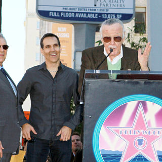 Gill Champion, Todd McFarlane, Stan Lee in Stan Lee Hollywood Walk Of Fame Star Induction Ceremony