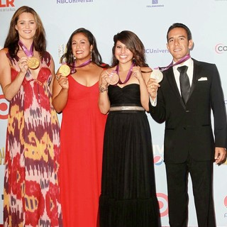 Jessica Steffens, Brenda Villa, Marlen Esparza, Leo Manzano in 2012 NCLR ALMA Awards - Press Room