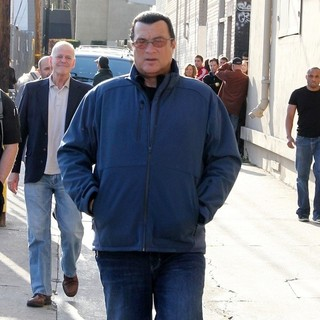 Steven Seagal in Steven Seagal Outside The Jimmy Kimmel Live! Studios