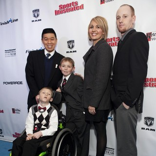 Chris Stone, Cayden Long, Conner Long, Jenny Long, Jeff Long in 2012 Sports Illustrated Sportsman of The Year Award Presentation