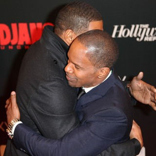 Michael Strahan, Jamie Foxx in The Premiere of Django Unchained