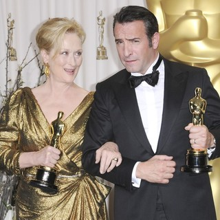 Meryl Streep, Jean Dujardin in 84th Annual Academy Awards - Press Room