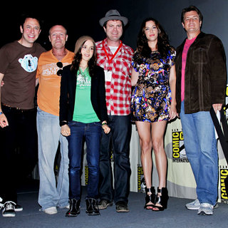 Ellen Page, Liv Tyler, Rainn Wilson, Michael Rooker, Nathan Fillion in Comic Con 2010 - Day 2 - Super' Press Conference