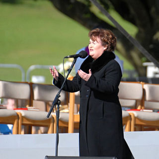 Susan Boyle in Susan Boyle Performs at Bellahouston Park Prior to The Arrival of Pope Benedict XVI