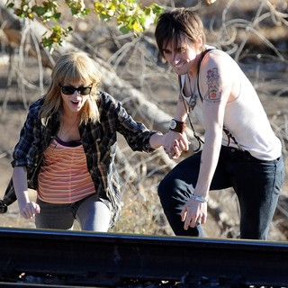 Taylor Swift, Reeve Carney in The Second Day of Filming Music Video I Knew You Were Trouble