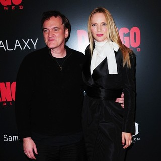 Quentin Tarantino, Uma Thurman in The Premiere of Django Unchained
