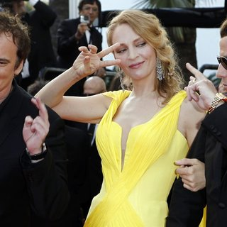 Quentin Tarantino, Uma Thurman, John Travolta in The 67th Annual Cannes Film Festival - Clouds of Sils Maria - Premiere Arrivals