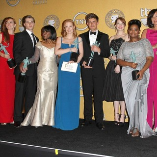 Sissy Spacek, Mary Steenburgen, Ahna O'Reilly, Mike Vogel, Cicely Tyson, Jessica Chastain, Chris Lowell, Emma Stone, Octavia Spencer, Allison Janney, Viola Davis in The 18th Annual Screen Actors Guild Awards - Press Room
