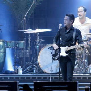 Brandon Flowers in The Killers Performing at The American Airlines Arena - the-killers-performing-08